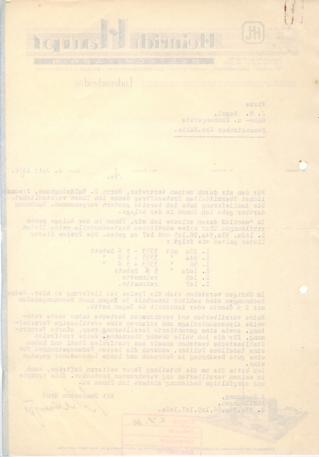 c121 alte rechnung l denscheid besteck fabrik heinrich haupt 1936 ebay. Black Bedroom Furniture Sets. Home Design Ideas